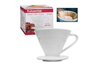 Kuissential Ceramic Coffee Dripper, Pour Over Coffee Filter, Size 02 (Includes 40 filters & coffee scoop)