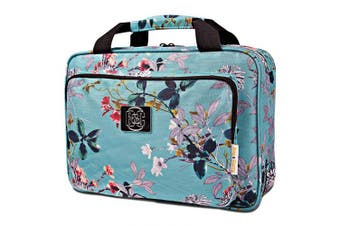 (Turquoise flowers) - Large Hanging Travel Cosmetic Bag For Women - Travel Toiletry And Cosmetic Makeup Bag With Many Pockets (Turquoise flowers)