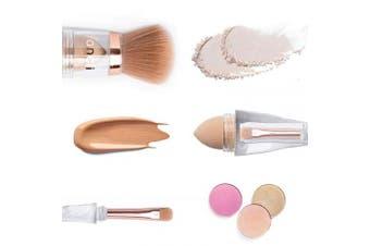 Fancii Premium Travel Makeup Brush Set, 3 in 1 - Kaya Cosmetic Make Up Brushes