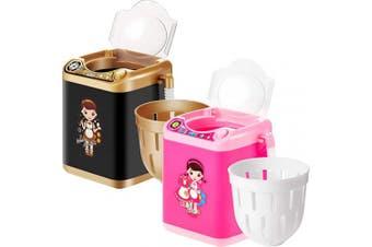 2 Pieces Electronic Powder Puff Mini Washing Machine, Automatic Makeup Brush Cleaner Device Washing Machine Toy (Black and Pink)
