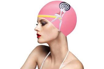 (PINK) - BALNEAIRE Silicone Swim Cap for Women, Waterproof UV Protection Long Hair Swimming Caps