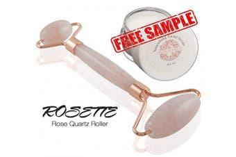 Rosette Rose Quartz Facial Roller for Face and Skin · Natural, Crystal Roller for Facial Massage & Skincare · Premium Rose Quartz Stone Two Part Roller· Free Sample of Luminance Facial Serum