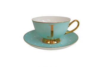 "Bombay Duck"" Letter J Alphabet Spotty Teacup and Saucer, Bone China, Mint J, 15 x 15 x 7 cm"