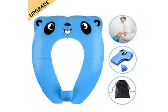 (Blue) - Folding Potty Training Seat TYRY.HU Toddler Portable Travel Toilet Seat Cover Foldable Reusable Potty Ring with Upgrade Splash Guard, 8 Non-Slip Pads for Kids Child Baby Boys Girls, Blue