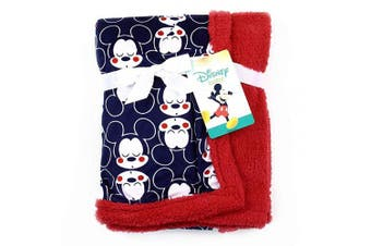 New! Mickey Mouse Soft Mink/Sherpa Baby Blanket. Navy & Red. 80cm x 80cm