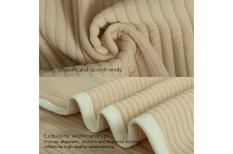 (80cm  x 100cm , Camel Striped) - NTBAY Lightweight Soft Jersey Cotton Toddler Blanket, Breathable and Warm for Boys and Girls Baby Blanket, 80cm x 100cm , Camel