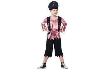 (Long Sleeve, 7-8Y) - IKALI Kids Pirate Costumes, Toddler Boys Stripey High Seas Caribbean Buccaneer Fancy Dress Up Outfit for Party 10-12Y