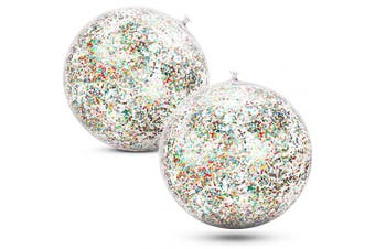 (Multicolor) - Gejoy 2 Pieces Inflatable Glitter Beach Ball Confetti Beach Balls Transparent Swimming Pool Party Ball for Summer Beach Water Play Toy, Pool and Party Favour, 41cm (Multicolor)