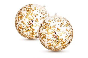 (Gold) - 2 Pieces Inflatable Glitter Beach Ball Confetti Beach Balls Transparent Swimming Pool Party Ball for Summer Beach Water Play Toy, Pool and Party Favour, 41cm (Gold)