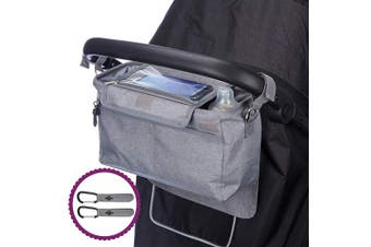 (Dove Grey) - BTR XL Buggy Organiser Pram Storage Bag for Pushchairs with Mobile Phone Holder Plus 2 x Pram Hooks. Dove Grey