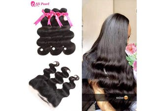 (20 22 24 & 46cm frontal) - Ali Pearl Unprocessed Human Hair Body Wave Weave 3 Bundles with 13x 4 Ear to Ear Full Lace Frontal Closure Free Part with Baby Hair (20 22 24 & 46cm frontal)