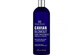 BOTANIC HEARTH Caviar Corrective Blowout Hair Treatment - Keratin Enriched Heat Activated Anti Frizz Smoothing Formula - 240ml