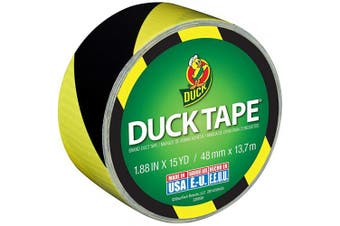 (B&Y Stripes) - Duck Brand 283972 Printed Duct Tape, Black and Yellow Stripes, 4.8cm x 15 Yards, Single Roll