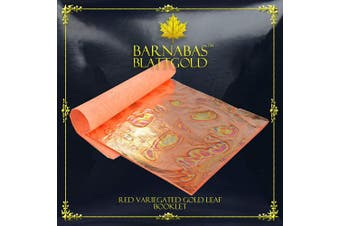 (Loose, 14cm , 25 sheets, Variegated - Red) - Variegated Gold Leaf Sheets - by Barnabas Blattgold - Colour - Red - 25 Sheets - 14cm Booklet