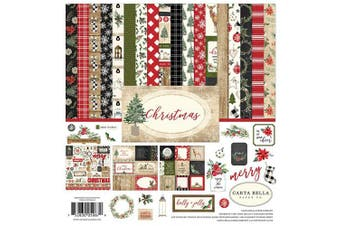 (Original) - Carta Bella Paper Company CBCH89016 Christmas Collection Kit Paper, Red/Green/Black/Tan