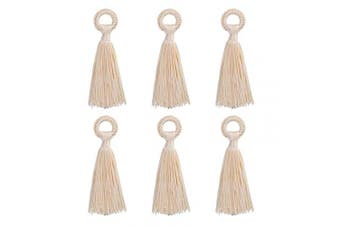 (10cm, Beige) - Wholesale 12PCS Large Beige Tassel Handmade Soft Silk DIY Tassels Bulk for Craft and Jewellery Making