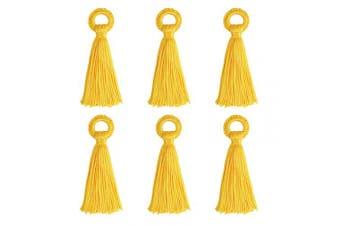 (10cm, Yellow) - Wholesale 12PCS Large Yellow Tassel Handmade Soft Silk DIY Tassels Bulk for Craft and Jewellery Making