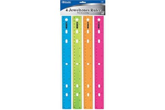 (6) - BAZIC Jeweltones Colour Ruler, 30cm , 4 Rulers per Pack, Sold as 6 Pack, 24 Rules Total