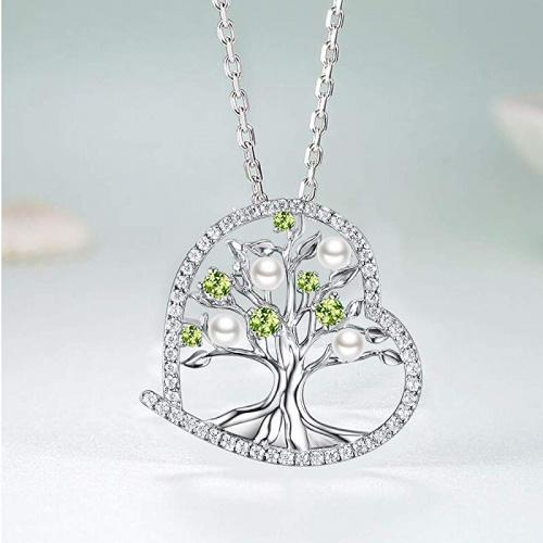 Blue Sapphire Necklace for Wife Birthday Gifts September Birthstone Tree of Life Jewelry Women Sterling Silver Necklace for Her