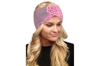 (Flower-Pink) - by you Women's Soft Knitted Winter Headband Head Wrap Ear Warmer (Flower-Pink)