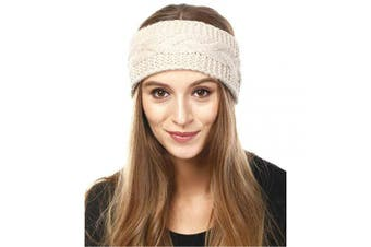 (Solid Cable-Beige) - by you Women's Soft Knitted Winter Headband Head Wrap Ear Warmer (Solid Cable-Beige)