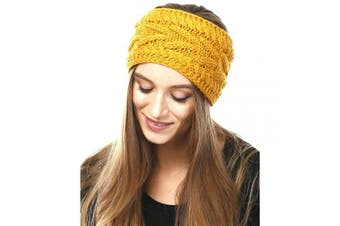 (Mustard) - by you Women's Soft Knitted Winter Headband Head Wrap Ear Warmer (Solid Cable-Mustard)