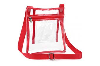(Red) - Clear Crossbody Purse, Clear Bag Stadium Approved for Hamilton Rolling Stone Concert NFL PGA Women Man Work School with Adjustable Strap