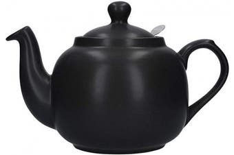 (6 Cup, Matte Black) - London Pottery Farmhouse Loose Leaf Teapot with Infuser, Ceramic, Matte Black, 6 Cup (1.5 Litre)