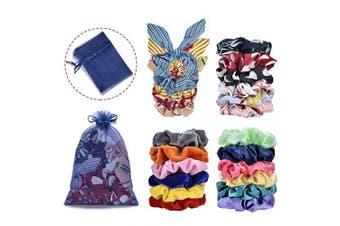 22pcs Hair Scrunchies,Cehomi Chiffon & Satin & Velvet Elastic Hair Bands Scrunchie Hair Ties Ropes Hair Bow Chiffon Ponytail Holder for Women and Laides