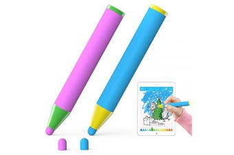 AWAVO Kids Stylus Pen for All Ages-Fun Crayon Capacitive Pen, compatible with iPads and iPhones, Capacitive Touchscreen Tablets, Smartphones(Pink/Blue)