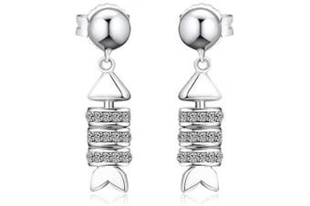 (Fish Bone) - CKK 925 Sterling Silver Fish Bones Earings with Clear Crystal