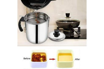 (Silver) - Bacon Grease Container with Fine Mesh Strainer Oil Storage Grease Keeper 1.3 L/5.2 cups 18/8 Stainless Steel Cooking Oil Can for Kitchen Fat Storage