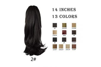 (2# Darkest Brown) - BARSDAR 36cm Clip in Ponytail Hair Extensions Short Wavy Synthetic Hair Piece for Women (2# Natural Black)