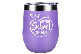 (Purple) - After School Snack - Teacher Appreciation Gifts for Women - Funny Teacher's Day, Thank you, Birthday Wine Gift for Teachers - Best Back to School Teacher Gift - Coolife 350ml Wine Tumbler Cup with Lid