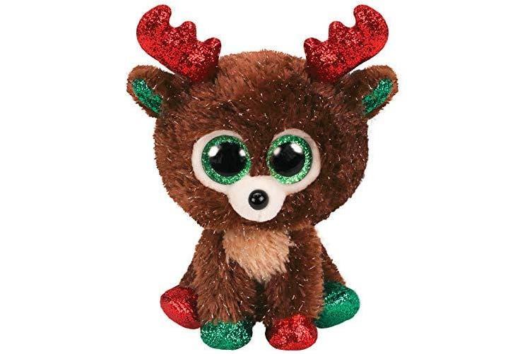 Ty- Beanie Boo's-Fudge The Reindeer 15cm, TY36684, Brown