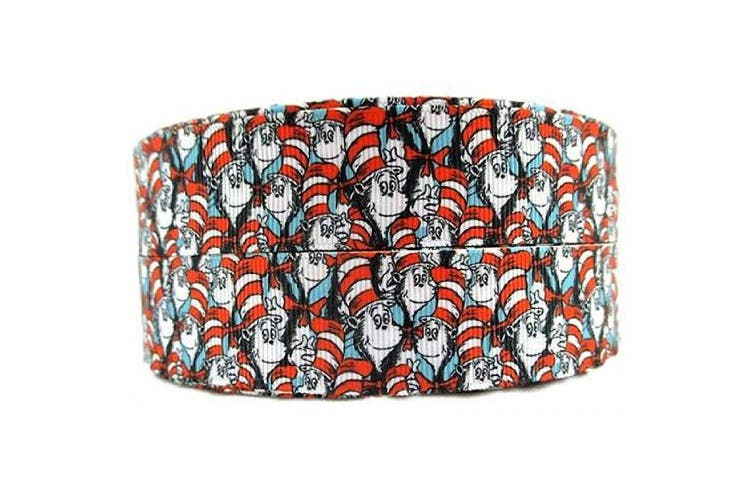 (10 Yard) - Dr. Seuss Cat in The Hat 2.5cm Wide Repeating Ribbon - Tv and Movie Character Ribbon (10 Yard)