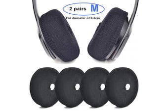 (M, Black) - Defean Replacement Flex Fabric Headphone Earpad Covers for 6~7.5cm and 8~9 cm Over-Ear Headset Ear Cushions/Good for Gym, Training (M, Black)