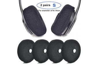 (S, Black) - Defean Replacement Flex Fabric Headphone Earpad Covers for 6~7.5cm and 8~9 cm Over-Ear Headset Ear Cushions/Good for Gym, Training (S, Black)