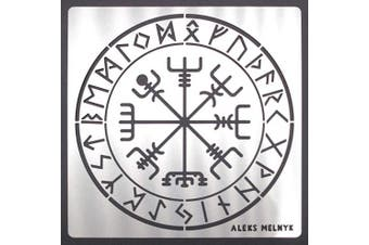 Aleks Melnyk #63 Metal Journal Stencil/Celtic Compass, Runes/Stainless Steel Stencil 1 PCS/Template Tool for Wood Burning, Pyrography and Engraving/Scrapbooking/Crafting/DIY