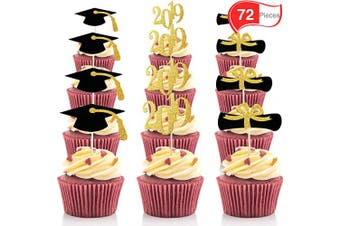 72 Pieces Graduation Cupcake Toppers, 2019 Cap Graduation Picks for Mini Cake, Graduate Food and Appetiser Decoration (Gold and Black Style, 72 Pieces)