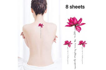 (style 6) - Flowers Temporary Tattoos for Women - 8 sheets Lotus Orchid Rose Fake TattooStickers Waterproofing (style 6)