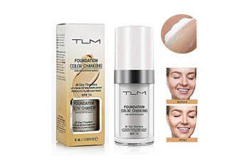 TLM Colour Changing Foundation, Flawless Colour Changing Foundation Makeup Base Nude Face Moisturising Liquid Cover Concealer for All Skin Types, SPF15, 30ml