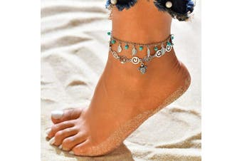 (Turtle) - Dusenly Boho Starfish Turtle Anklet Ankle Bracelet Foot Chain Charm Beads Sea Handmade Anklet Foot Jewellery for Women Girls (Turtle)
