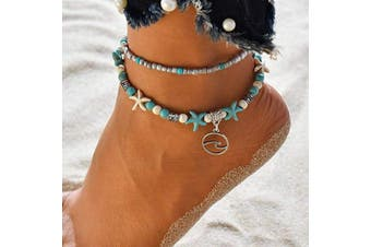 (Wave) - Dusenly Boho Starfish Turtle Anklet Ankle Bracelet Foot Chain Charm Beads Sea Handmade Anklet Foot Jewellery for Women Girls (Wave)