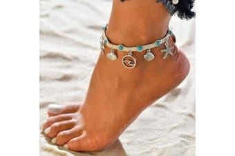 (Shell) - Dusenly Boho Starfish Turtle Anklet Ankle Bracelet Foot Chain Charm Beads Sea Handmade Anklet Foot Jewellery for Women Girls (Shell)