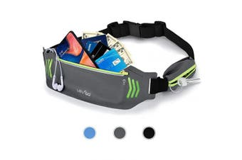 (gray) - BASEIN Fanny Pack Slim Soft Outdoor Dual Pouch Sweatproof Reflective Running Belt Waist Pack for Hiking Fitness – Adjustable Waist Pouch for All Kinds of Phones