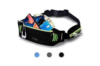 (black) - BASEIN Fanny Pack Slim Soft Outdoor Dual Pouch Sweatproof Reflective Running Belt Waist Pack for Hiking Fitness – Adjustable Waist Pouch for All Kinds of Phones