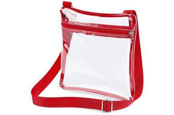 (Red) - Clear Crossbody Purse Bag NFL Stadium Approved Clear Bag for Women and Man with Adjustable Strap for Work, School, Sports Games, Concerts