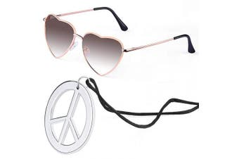 (Tawny) - Beelittle Hippie Dressing Accessory Set Heart Shaped Sunglasses Thin Metal Frame Heart Style and Peace Sign Necklace (Tawny)