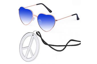 (Blue) - Beelittle Hippie Dressing Accessory Set Heart Shaped Sunglasses Thin Metal Frame Heart Style and Peace Sign Necklace (Blue)